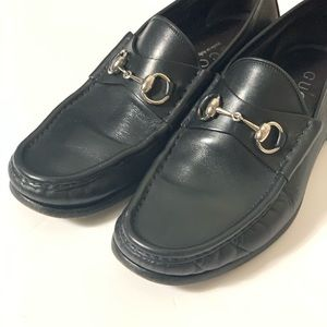 GUCCI Horsebit Black Leather Classic Loafers